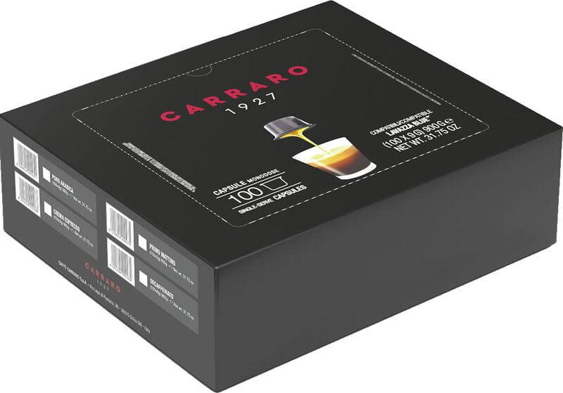Caffe Crema Espresso BLUE Capsules 100ct Carraro