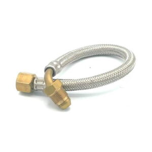 Pipe Stainless Steel Braided Flexible 30Cm 3/8 FF MALE W/ Conical Elbow Pump Faema Casadio