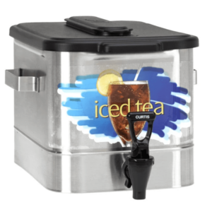 3 Gallon Stainless Steel Oval Iced Tea Dispenser with Plastic Lid Wilbur Curtis
